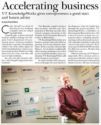 VT KnowledgeWorks in Roanoke Business Magazine