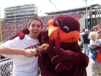 Michael Rihani with the Virginia Tech Hokie Bird