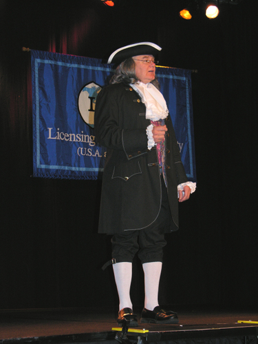 Michael J. Martin, President, TechTransfer, Inc. as Benjamin Franklin.